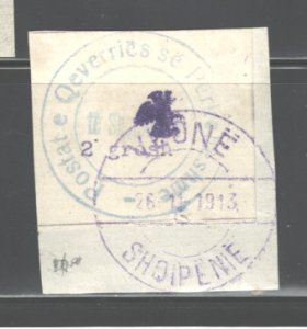 ALBANIA 1913  #24, NO GUM AS ISSUED, C.T.O.(?) , MH