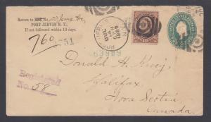 US Sc 209 on 1889 Registered Entire, cross border Port Jervis-Halifax
