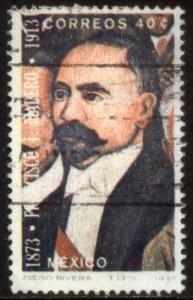 MEXICO 1052 40cts Centenary birth of Pres Madero. Used.