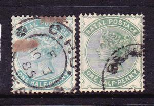 NATAL 1882-89  1/2d   QV  BOTH SHADES FU  SG 97/97a