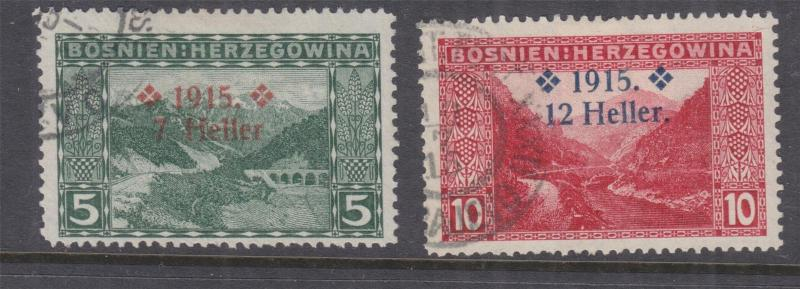 BOSNIA & HERZEGOVINA, 1915 overprint on Pictorials pair, used.