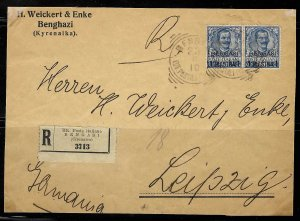 Italy Office in Africa - BENGASI -(#1) 1901 Surcharge 1pi ON 25c DEEP BLUE COVER
