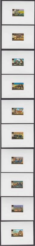 RWANDA 1972 NATIONAL PARK Sc 444-453 SUPERBE FULL SET OF 10 DELUXE DIE PROOFS VF