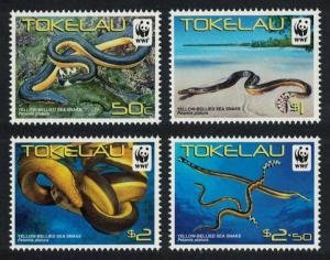 Tokelau WWF Yellow-bellied Sea Snake 4v SG#420-423 MI#408-411