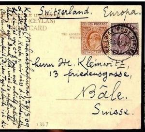 CEYLON Cover 1909 Superb *RAILWAY POST OFFICE* Postcard WORKING ELEPHANTS W529
