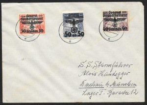 POLAND Sc#N32, N48-49 Cover canceled 1940 Krakau to Dachau