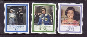 Zil Elwannyen Sesel-Sc#136-8-unused NH 3/5 set-QEII 40th Wedding anniversary-198
