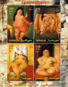 Somalia 2003 FERNANDO BOTERO Nudes Paintings Sheet Perforated Mint (NH)