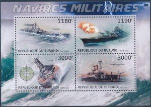 Burundi MNH S/S Naval Military Ships 2012 4 Stamps