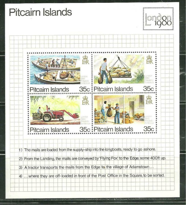 Pitcairn Islands MNH S/S 192 Mail Delivery To Island 1980