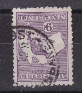 K132) Australia 1918 9d Deep Violet Kangaroo, ACSC 26Ca 3rd wmk Die II, Inverted