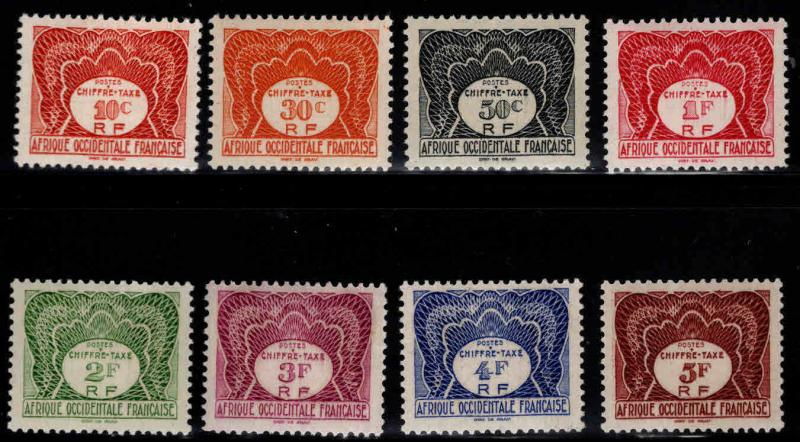French West Africa Scott J1-8 MH*  postage due short set 8/10
