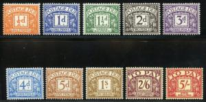 GREAT BRITAIN POSTAGE DUES SCOTT#J45/54 MINT  HINGED SCCOT VALUE $554.00
