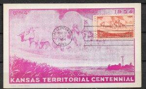 UNITED STATES STAMPS, 1954, MAXI CARD MC MAXIMUM CARD KANSAS