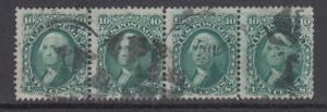 US Sc 68 used 1861 10c green Washington, horiz strip of 4