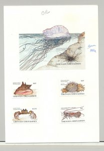 Grenada (Grenadines) #694-698 Fish, Shells 4v & 1v S/S Imperf Proofs on Card