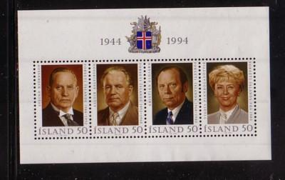 Iceland Sc 788 1994 50 Years Republic stamp sheet mint NH