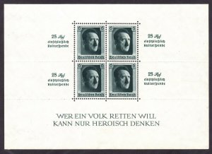 Germany B104 Mint 1937 Adolf Hitler Nazi Congress Perf 14 Souvenir Sheet