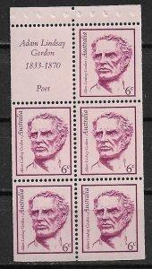 1970 Australia 456a Poet  Adam Lindsay Gordon MNH booklet pane of 5