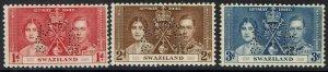 SWAZILAND 1937 KGVI CORONATION SPECIMEN SET