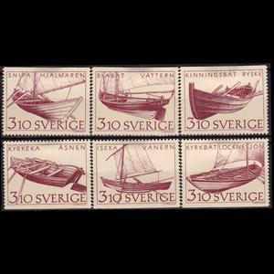 SWEDEN 1988 - Scott# 1666-71 Inland Boats Set of 6 LH
