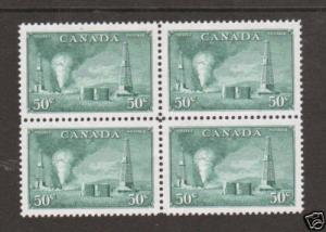Canada Sc 294 MNH. 1950 50c Oil Wells, block of 4, XF
