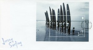 Jersey 2021 FDC Sports Stamps Surfing Landscapes Beaches 1v M/S
