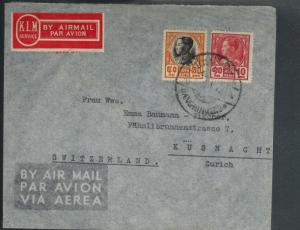 1930s Bangkok Thailand Airmail Cover to Switzerland via KLM Airlines