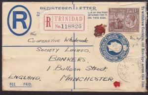 TRINIDAD 1929 GV 3d registered envelope used to UK.........................67594