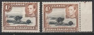 KENYA UGANDA & TANGANYIKA 1938 KGVI 1/- 2 DIFFERENT SHADES PERF 13 X11.75