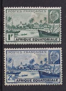 French Equatorial Africa   #79A-79B   MH  1941 Libreville view  Petain