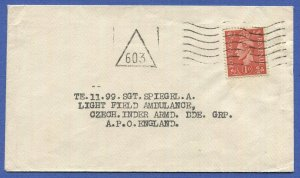 GB 1944 cover to Czechoslovak soldier in British Liberation Army, England