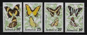 Jamaica 398-401 Butterflies Mint Lightly Hinged