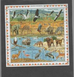 UGANDA #690  1989 WILDLIFE AT WATERHOLE    MINT VF NH O.G SHEET 20 (xx)