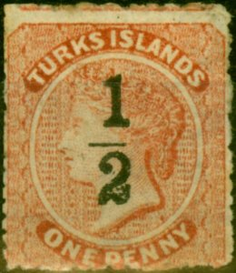 Turks Islands 1881 1/2 on 1d Dull Red SG17 Ave Mtd Mint