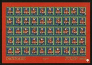 Denmark.  Christmas Sheet MNH 1968 Imperforated. Santa. Art: Bjorn Wiinblad.