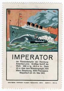 (I.B) Germany Cinderella : Steamship Label Series 5 (Imperator)