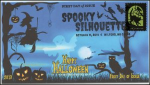 19-258, 2019, Spooky Silhouettes, Pictorial Postmark, First Day Cover, Yellow