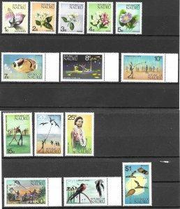Nauru 15c Flowers and Fish set of 1973, Scott 91-104 MNH
