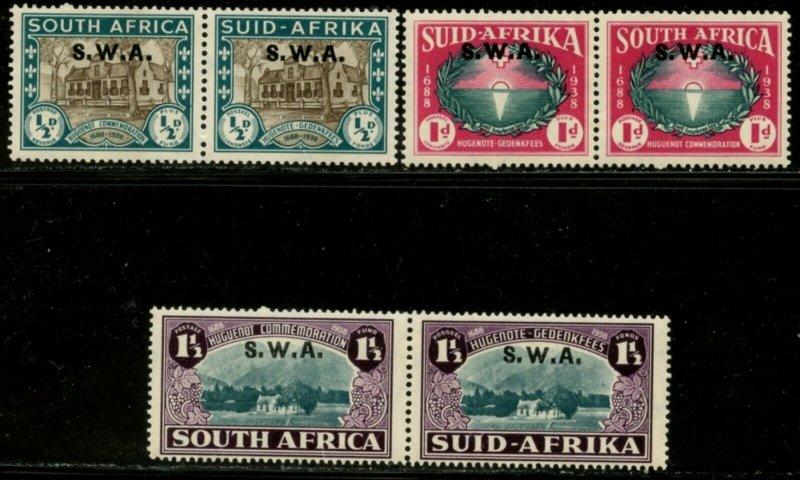 SOUTH WEST AFRICA Sc#B9-B11 SG#111-113 1938 Huguenot PRs Cpl Mint Hinged