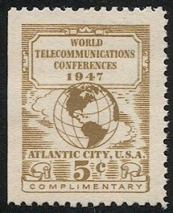 US 1947 Sc 17T1  MNH 5c US Telegraph-Cable-Radio Carriers, VF, Globe/Map