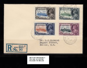 BRITISH HONDURAS SC# 108-111 COVER TO BELIZE - SEE PICTURE