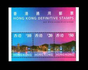 Hong Kong High Value Definitive Sheet of 3 miniature sheet MNH