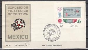 Mexico, Scott cat. C374. Sports-Soccer s/sheet First day cover