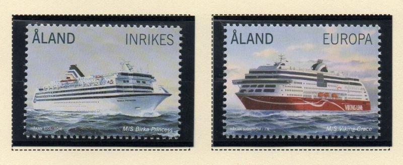 Aland Sc 351-52 2014 Ferry Boats stamp set  mint NH