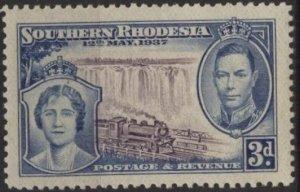 Southern Rhodesia 40 (mnh or vlh) 3p George VI, Elizabeth, train (1937)