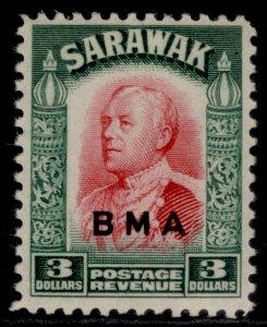 SARAWAK GVI SG142, $3 carmine & green, M MINT. Cat £50.