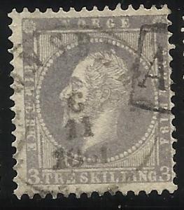 Norway 3  3sk Used F/VF Cancel 1861
