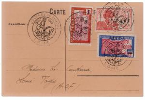 1945 Lome Togo postcard Cover AOF Overprints Stamp Day Cancel