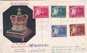 South West Africa # 244-248, Queen Elizabeth's Coronation First Day Cover,